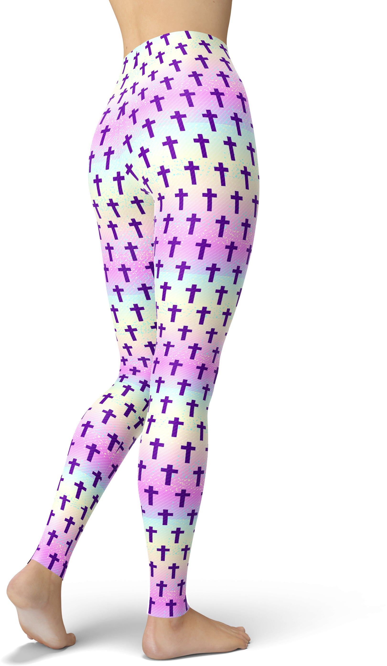 Purple Cross Print Leggings