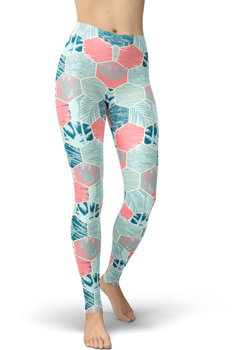 Color Blocked Frond Leggings