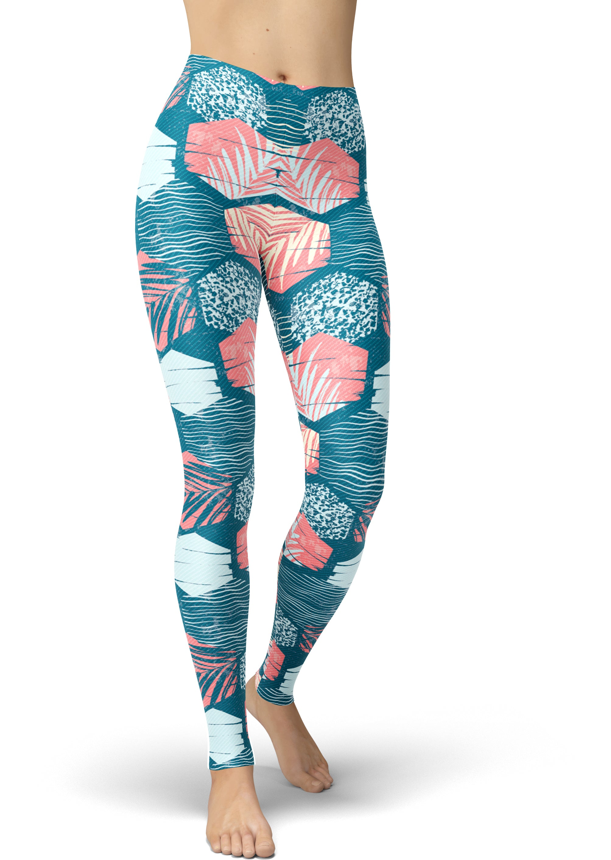 Turquoise & Peach Palm Print Leggings