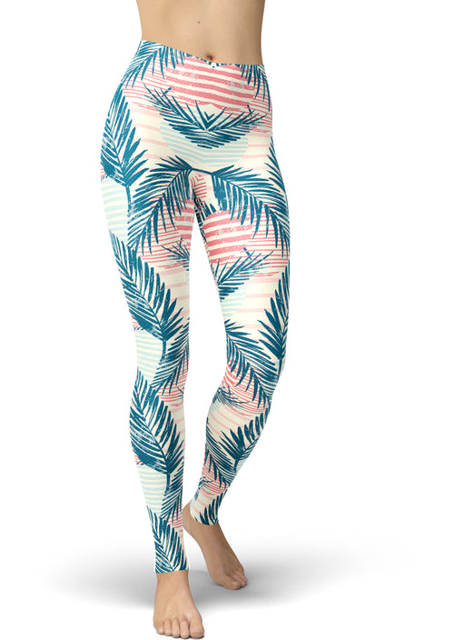 Blues & Peach Palm Print Leggings