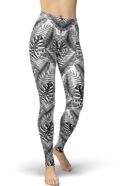 Black & White Palm Print Leggings