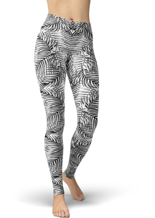 Grayscale Palm Frond Leggings