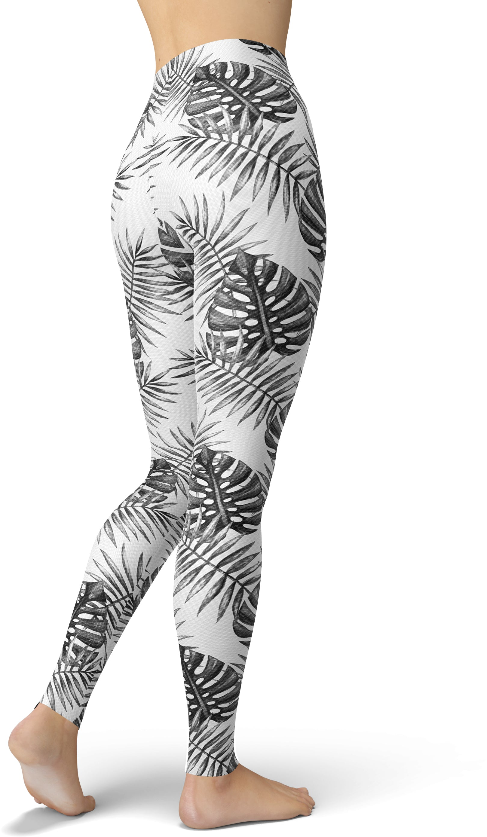 Grayscale Tropical Palm Leggings