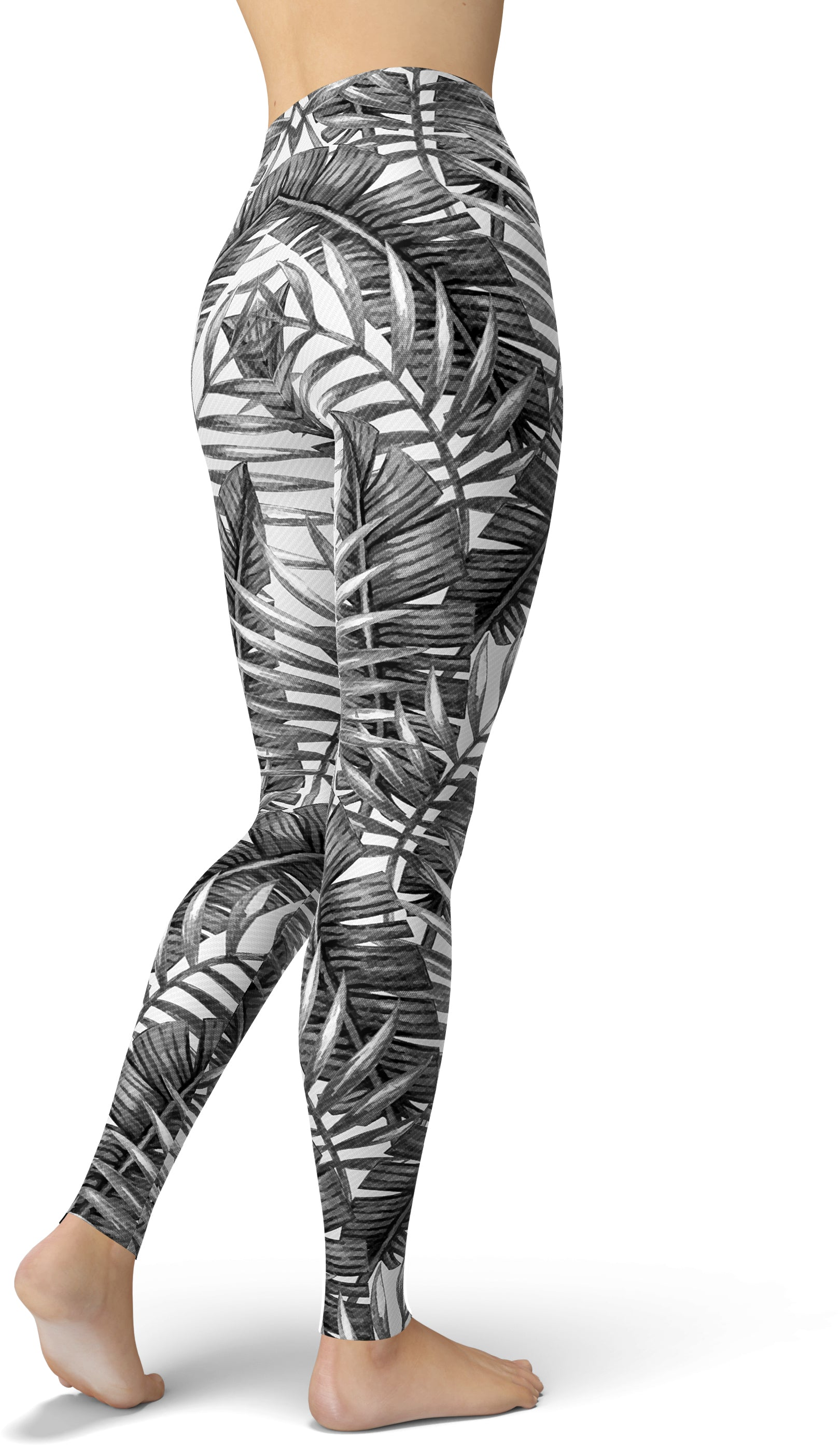 Grayscale Tropical Print Leggings