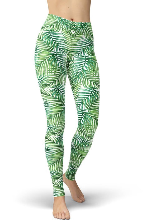 White & Green Palm Print Leggings
