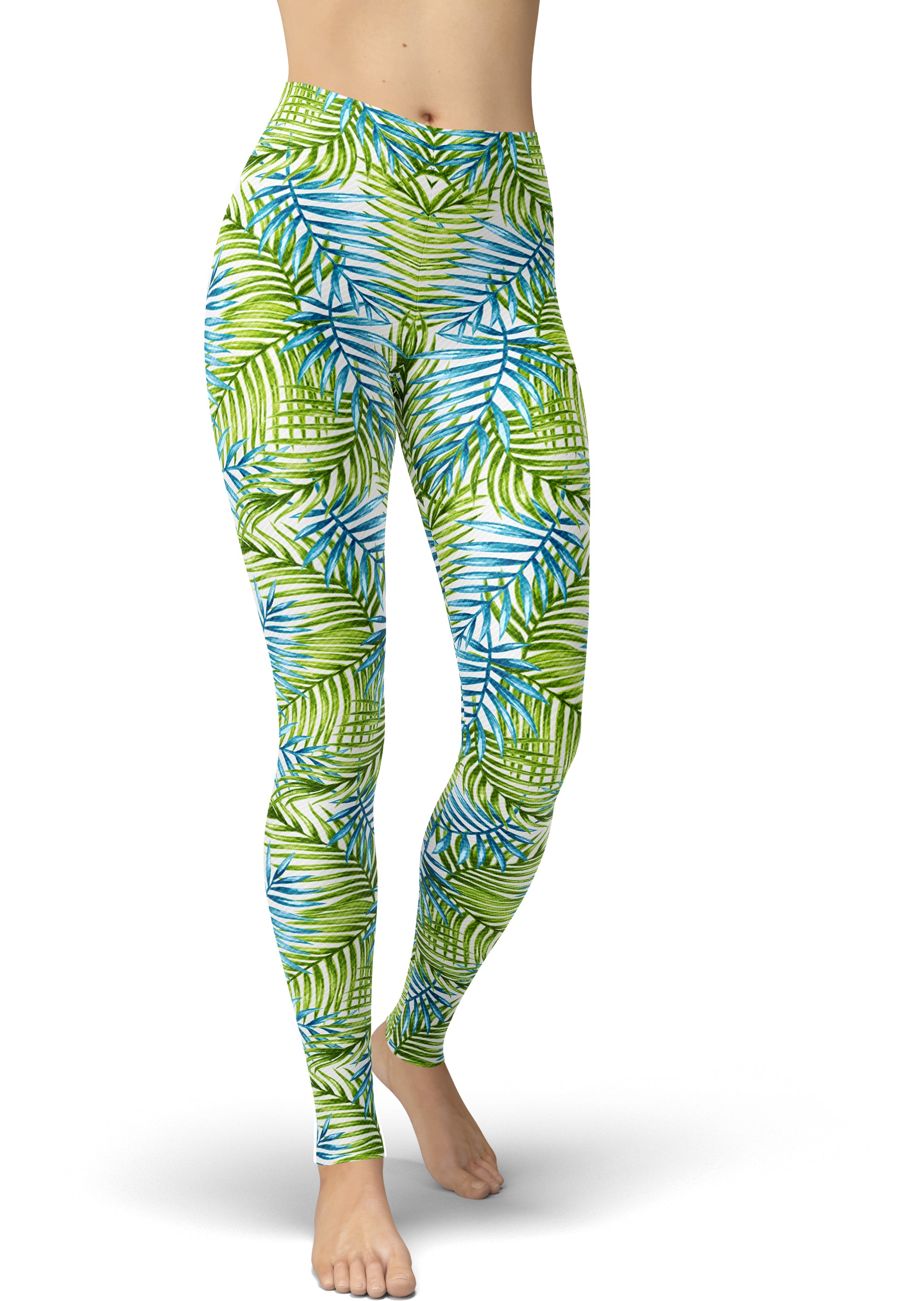 White, Blue & Green Jungle Leggings