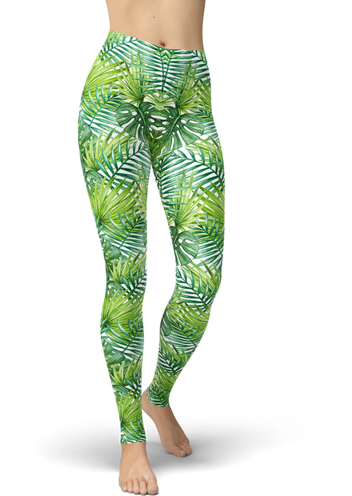 Green Foliage Fashion Leggings