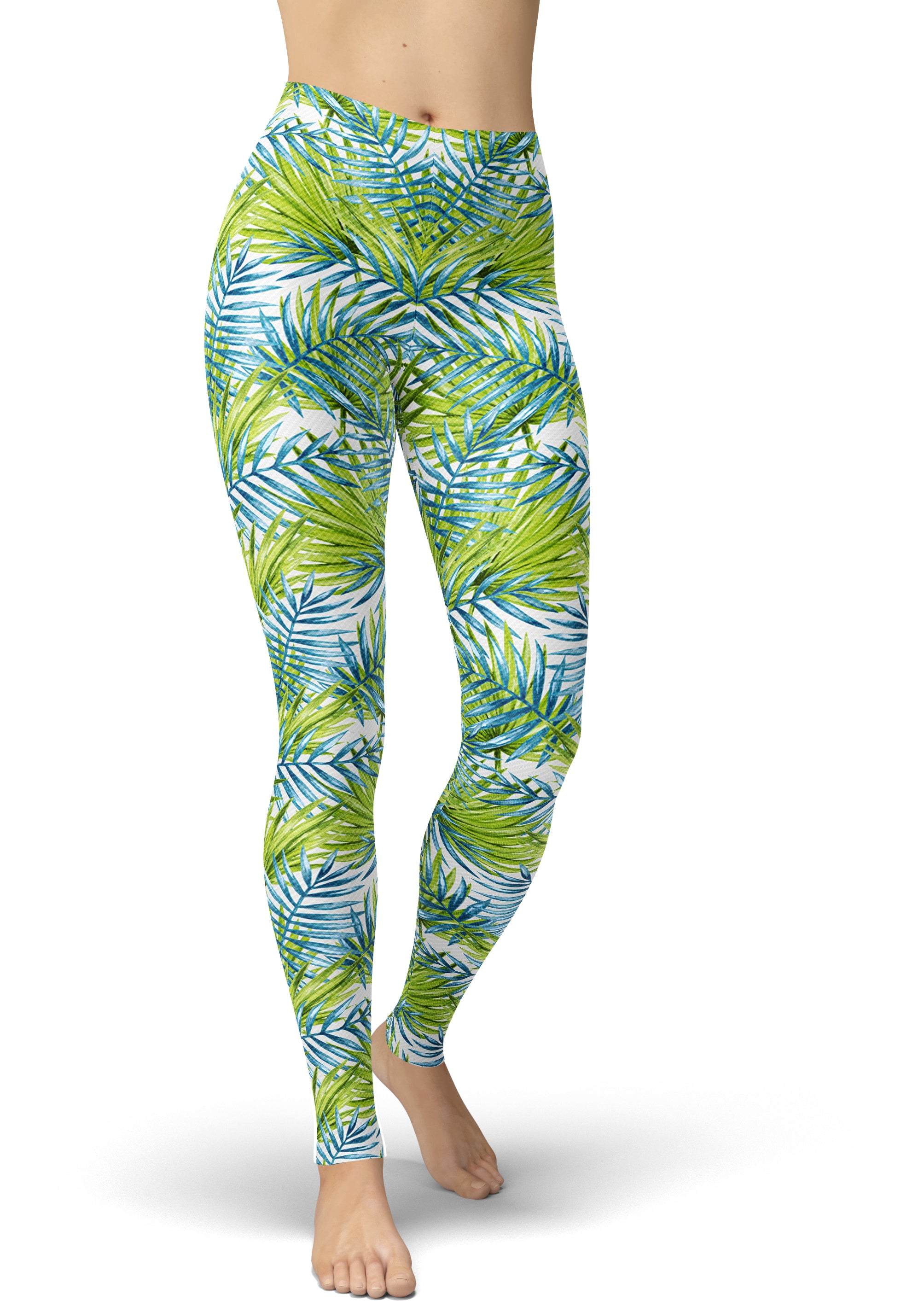 Green, White & Blue Jungle Leggings