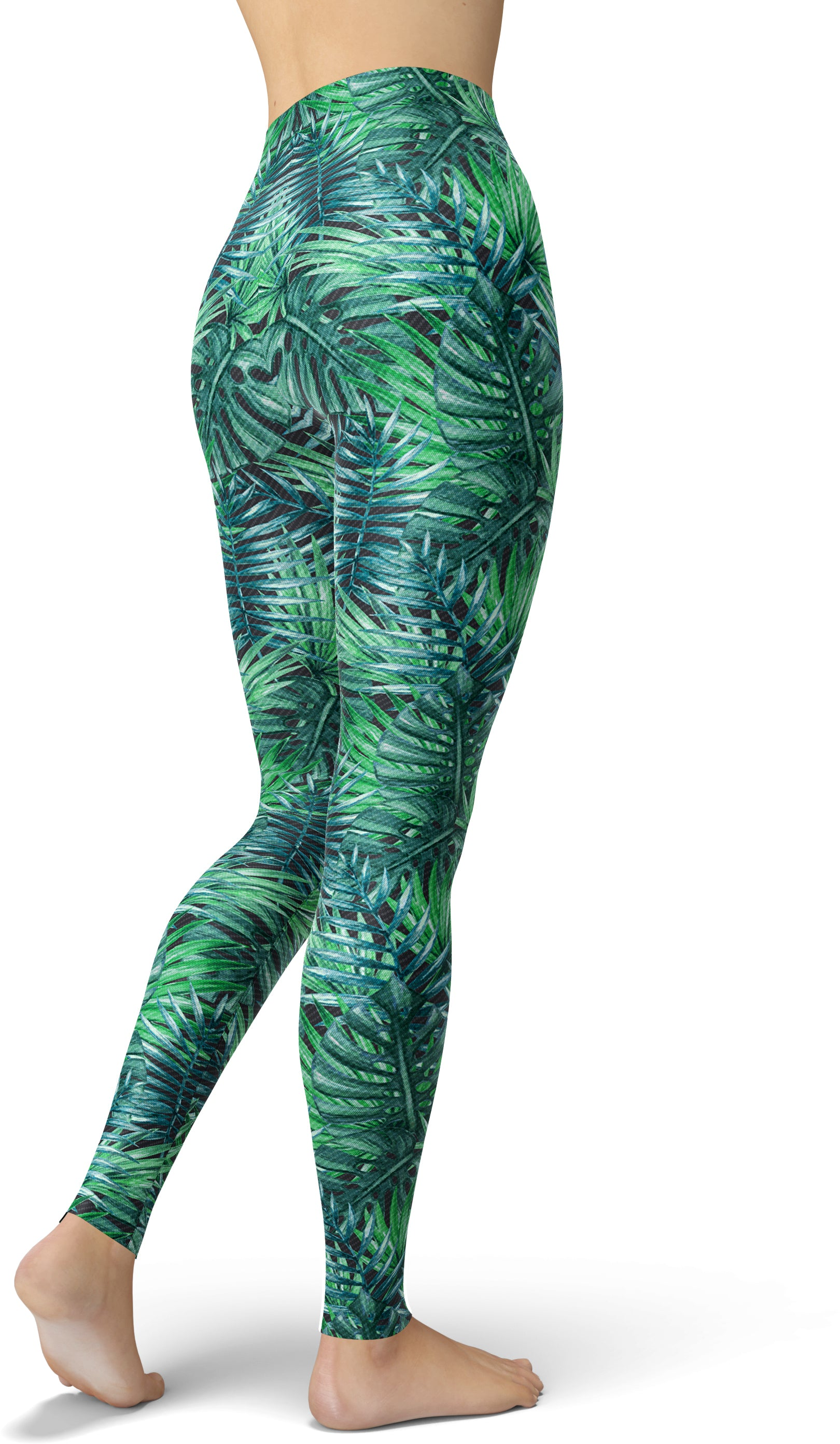 Fancy Frond Print Jungle Leggings