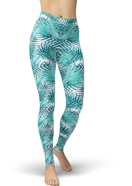 Tropical Mint Leaf Leggings