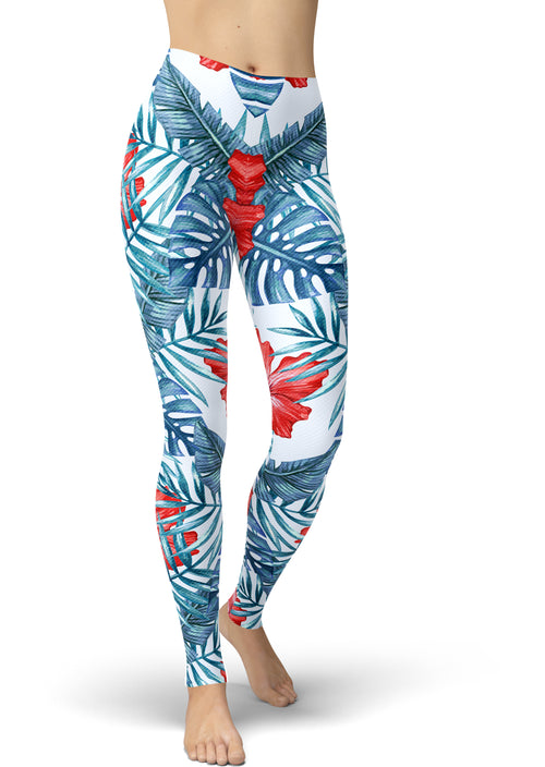 Patriotic Tropical Print Leggings