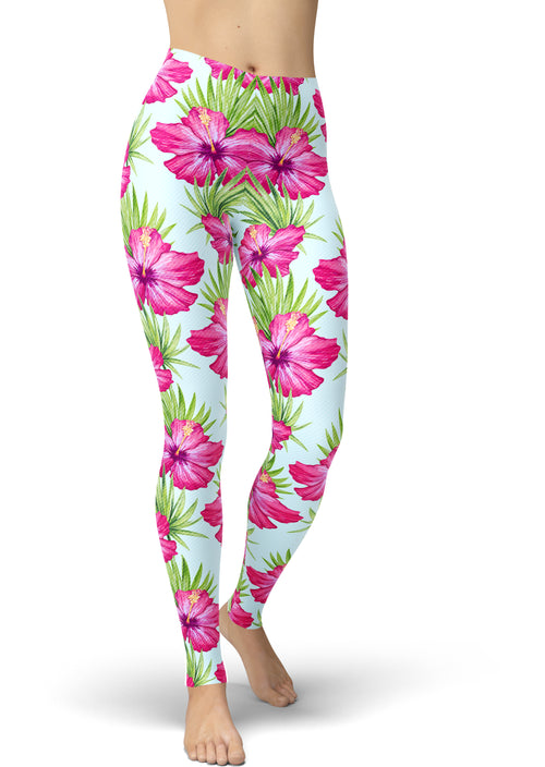 Tropical Pink Hibiscus Print Leggings