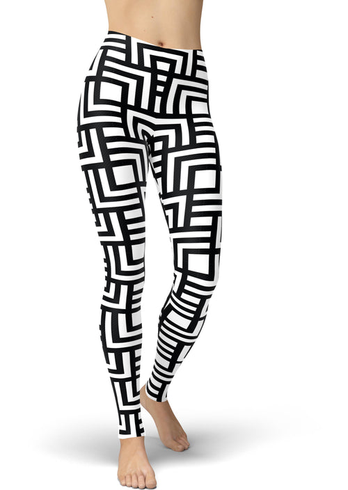Black & White Maze Leggings