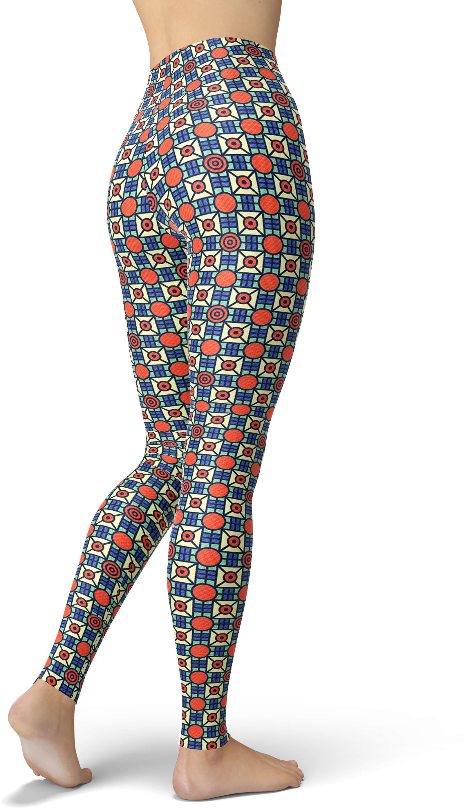 Boxy Orange Dot Print Leggings