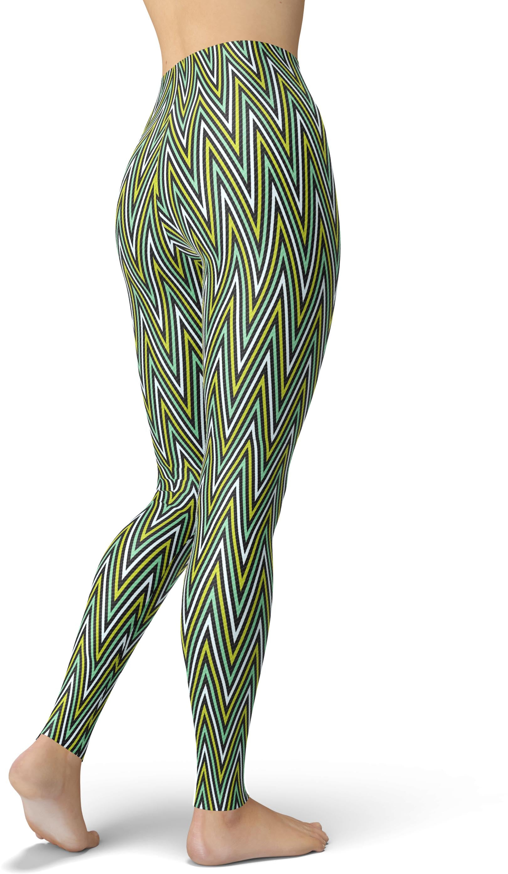 Green & Black Geometric Chevron Leggings