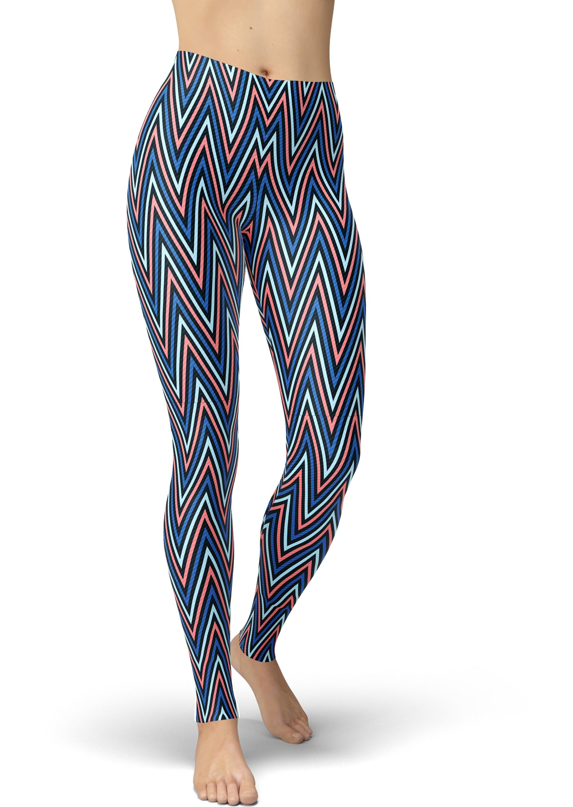 Navy & Peach Geometric Chevron Legging