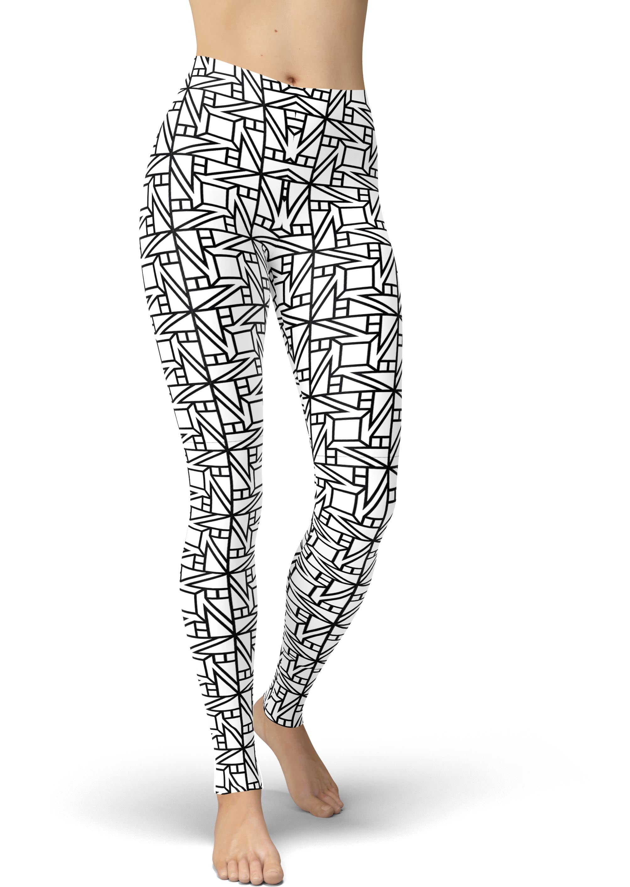 White & Black Geo Tiles Leggings