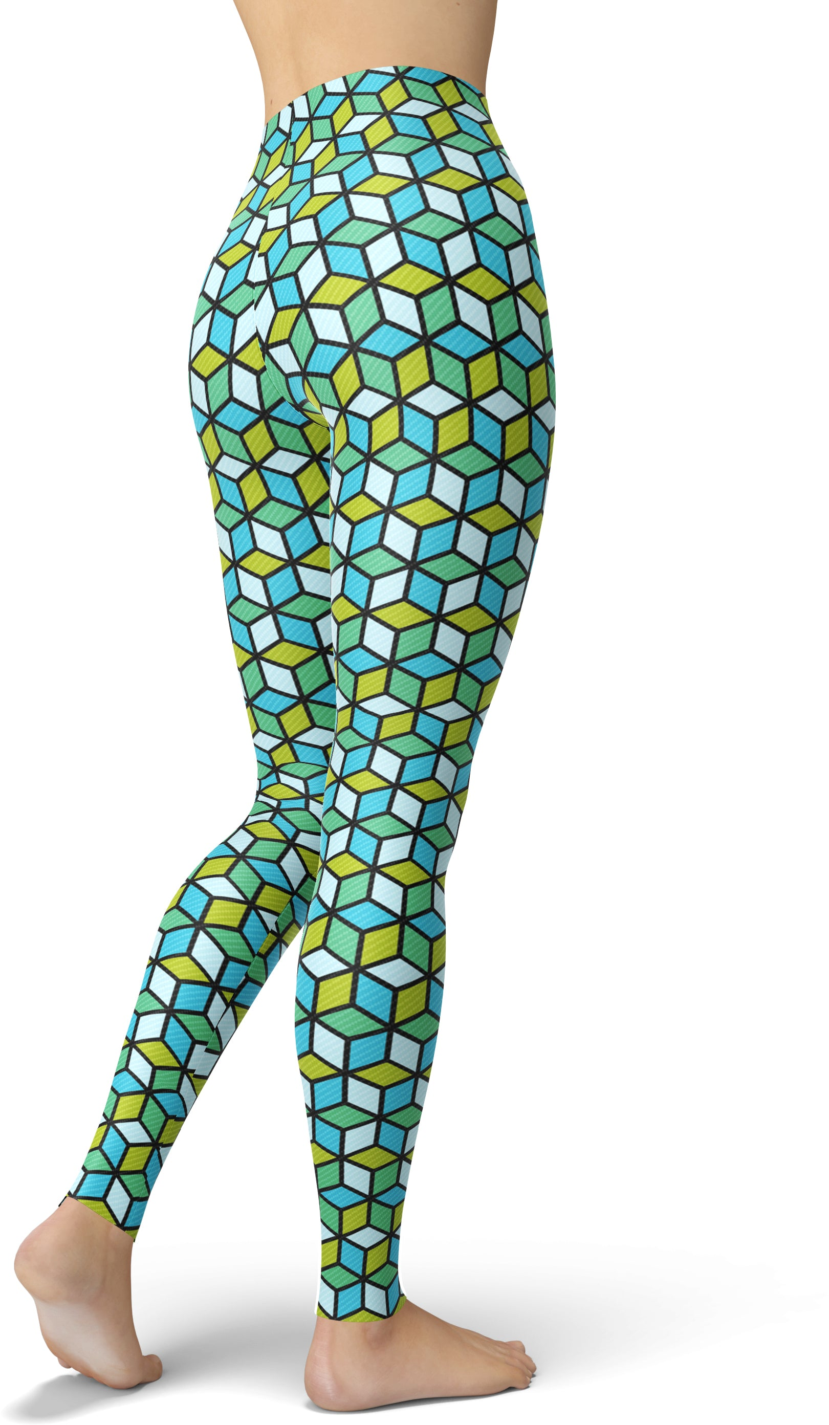 Green & Blue Geo Blocks Leggings