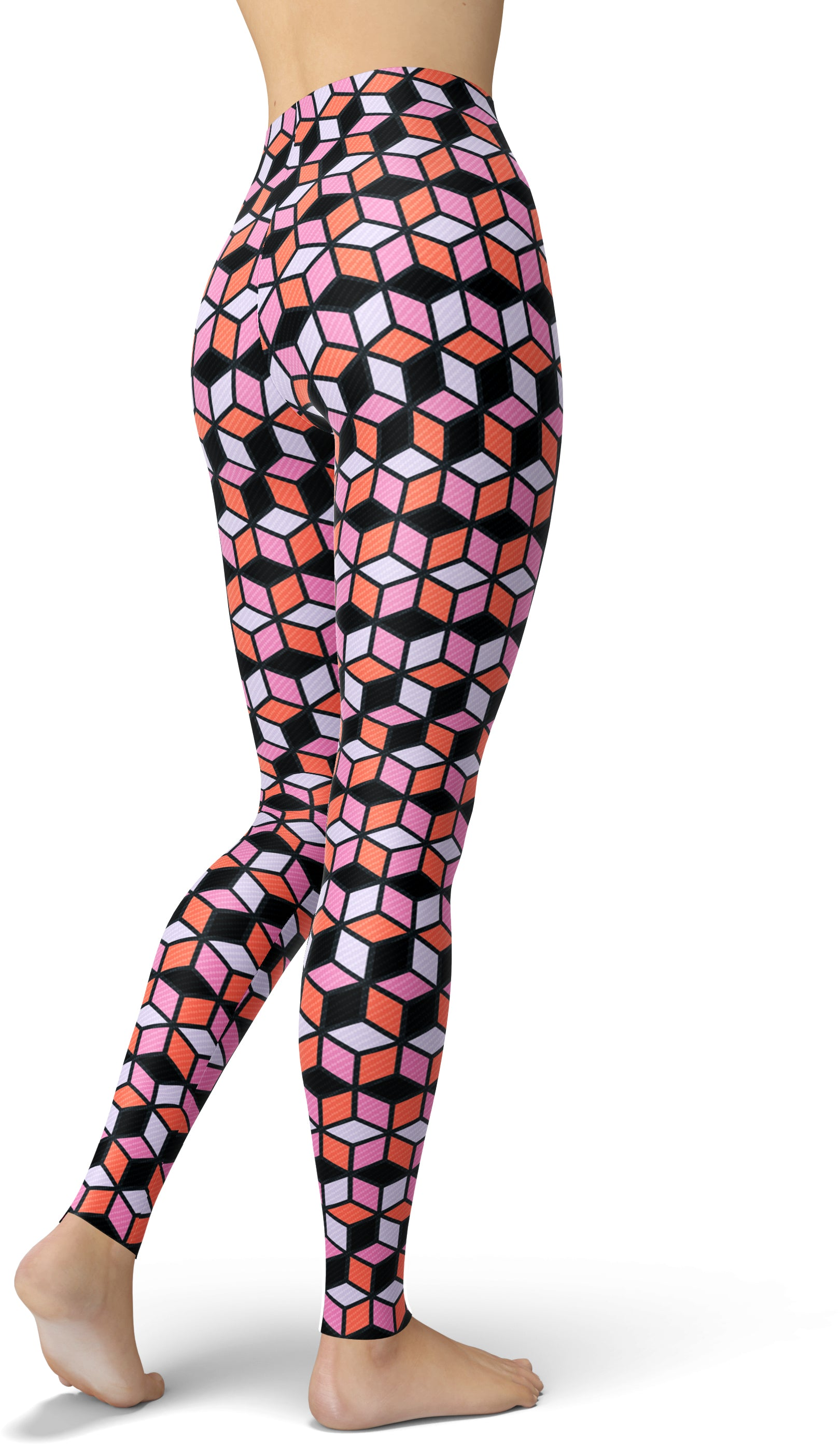 Pink & Black Geo Cubes Leggings