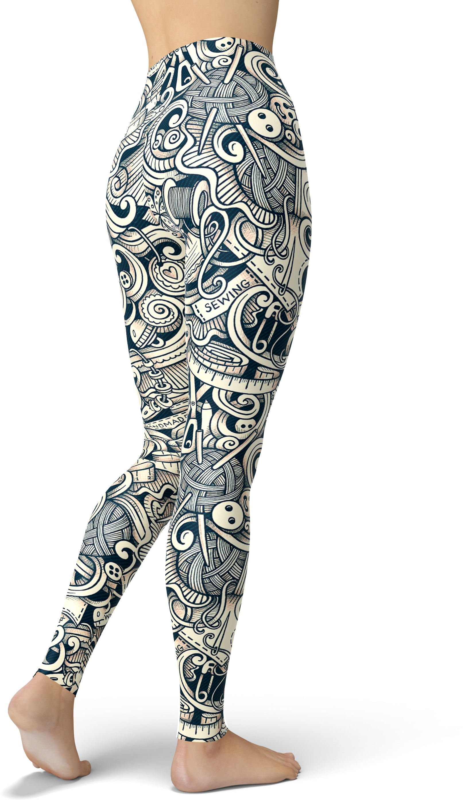 Grayscale Craft Print Leggings
