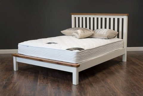 Manhattan White oak tops small double bed frame