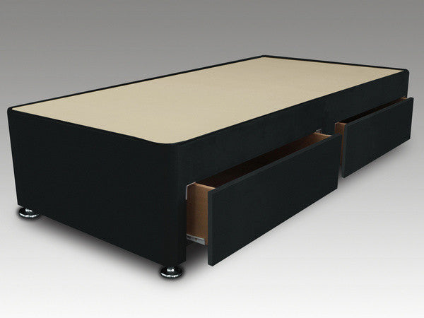 Single 2 drawer black divan base 3ft corstorphine bed for Single divan with drawers and headboard