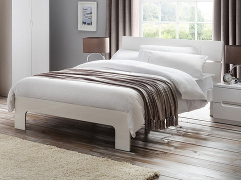 Manhattan gloss White double bed frame