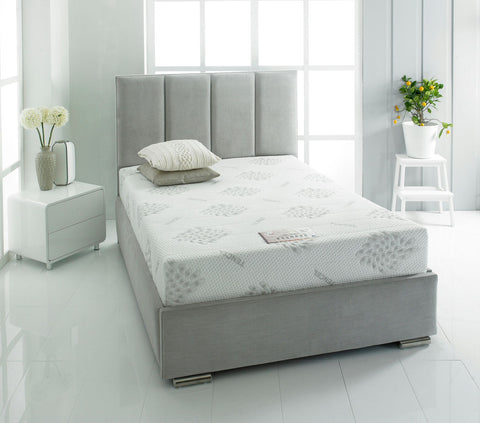 London fabric double bed frame 135cm