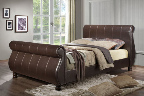 Marseille leather king size bed frame Brown 150cm