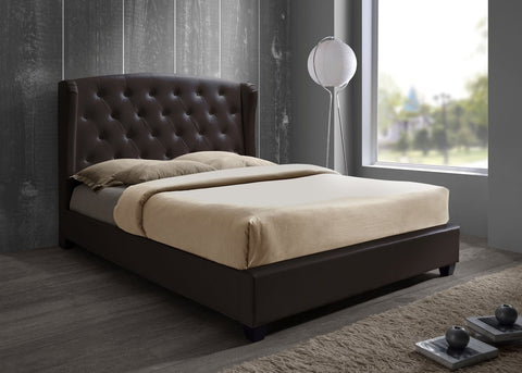 Prague leather double bed frame Brown 135cm