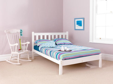 Shaker White small double pine bed frame