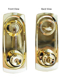 """Chronos"" Combo Entry and Deadbolt Single Cylinder, Polished Brass Finish With Plates - DSD Brands"