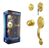 """Comfort"" Entry Lock Set with Door Lever Handle, Polished Brass Finish - DSD Brands"