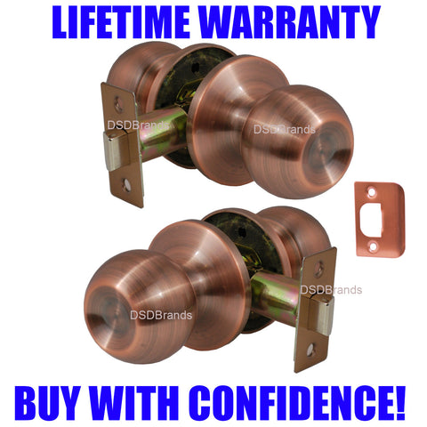 """Chronos"" Passage Antique Copper Finish, Door Lever Lock Set Knob Handle Set - DSD Brands"