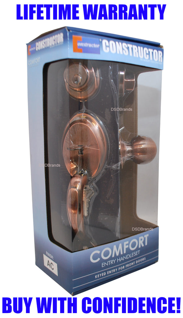 """Comfort"" Entry Lock Set with Door Lever Handle, Antique Copper Finish - DSD Brands"