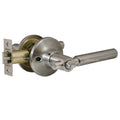 """Rondo"" Privacy Lever Door Lock with Knob Handle Lockset, Satin Nickel Finish - DSD Brands"