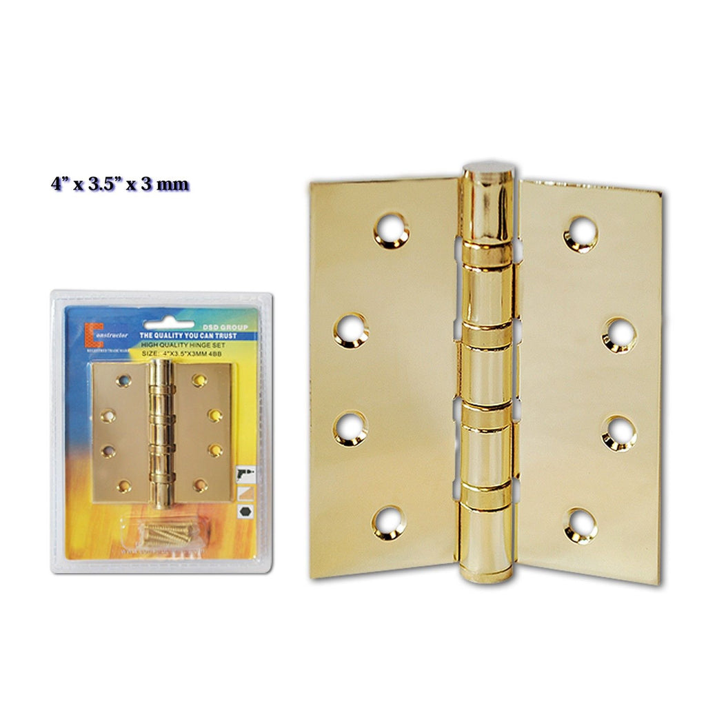 "CONSTRUCTOR Polished Brass Door Hinge Ball Bearing 4"" x 3.5"" - DSD Brands"
