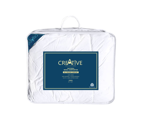 Creative Living Solutions Comforter 100% Wool All Season. 100% Cotton Casing.