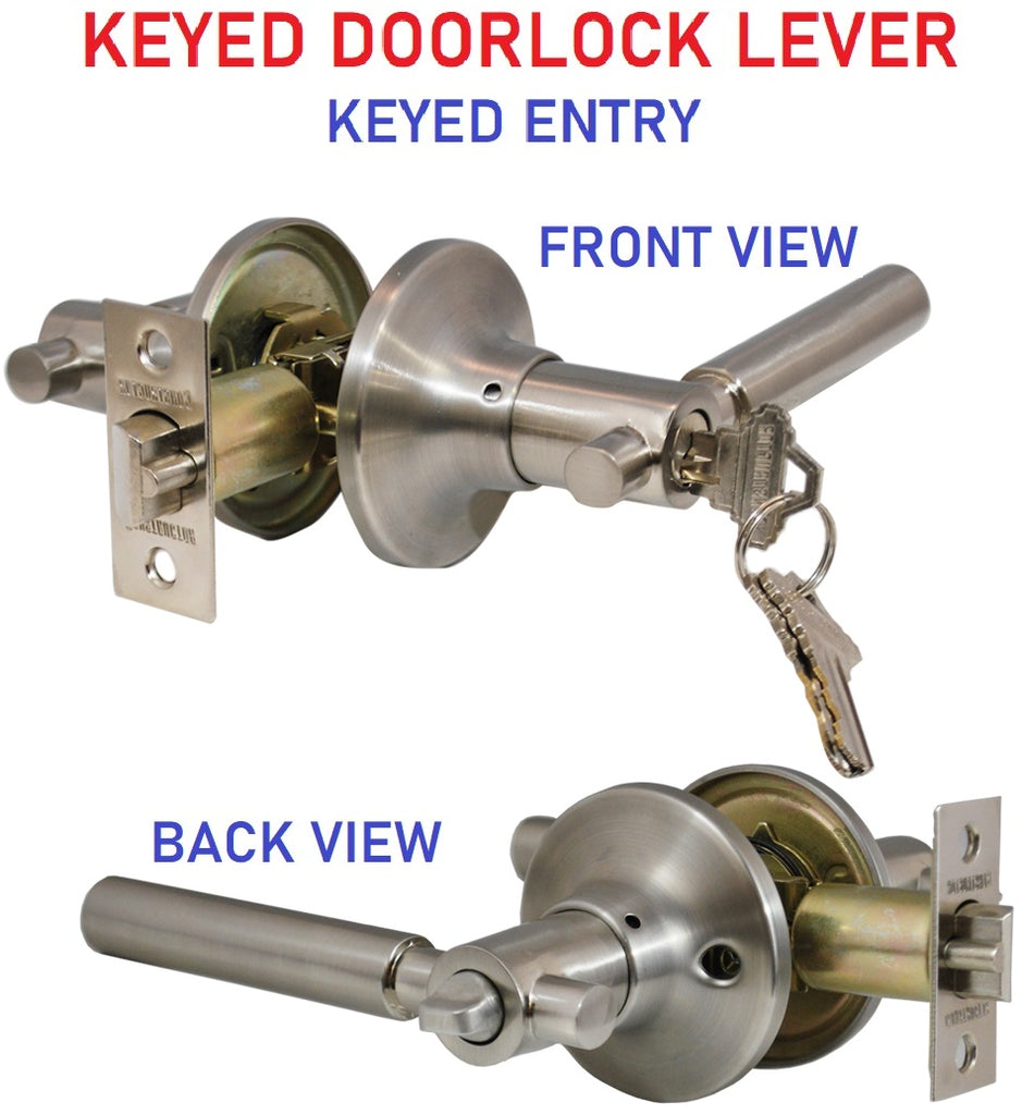 "Copy of ""Rondo"" Entry Lever Door Lock with Knob Handle Lockset, Satin Nickel Finish"