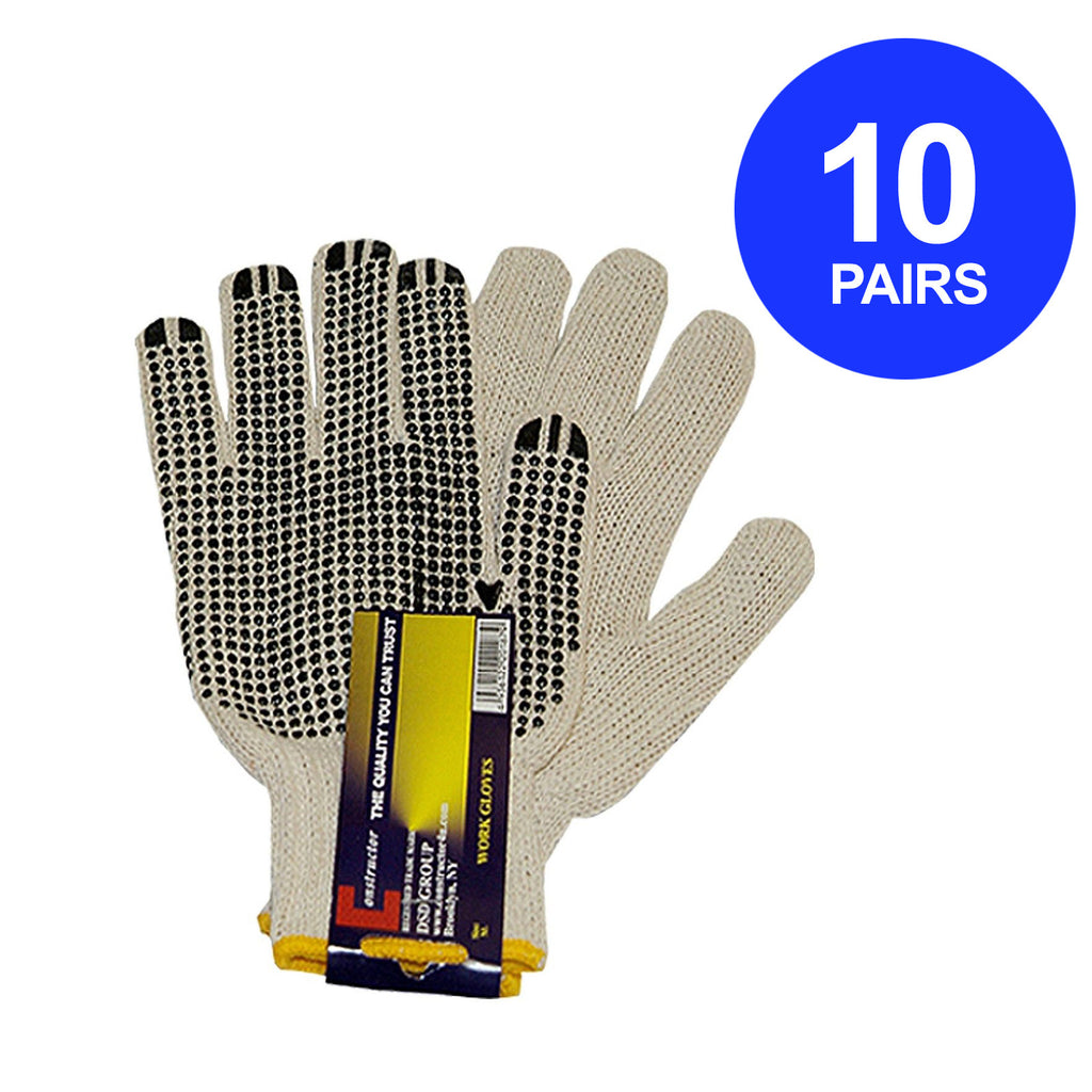 Constructor® 10 Pairs PVC Knitted Dotted Gloves - DSD Brands