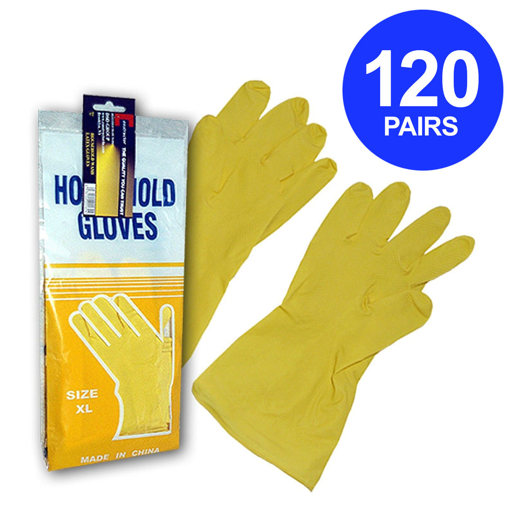 Constructor® Household Latex Gloves.  120 Pairs - DSD Brands
