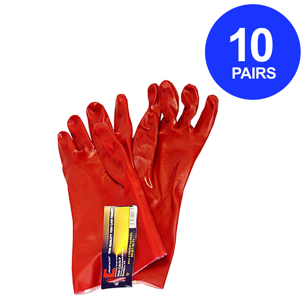 Constructor® PVC Heavy Duty Gloves Red. 10 Pairs. - DSD Brands