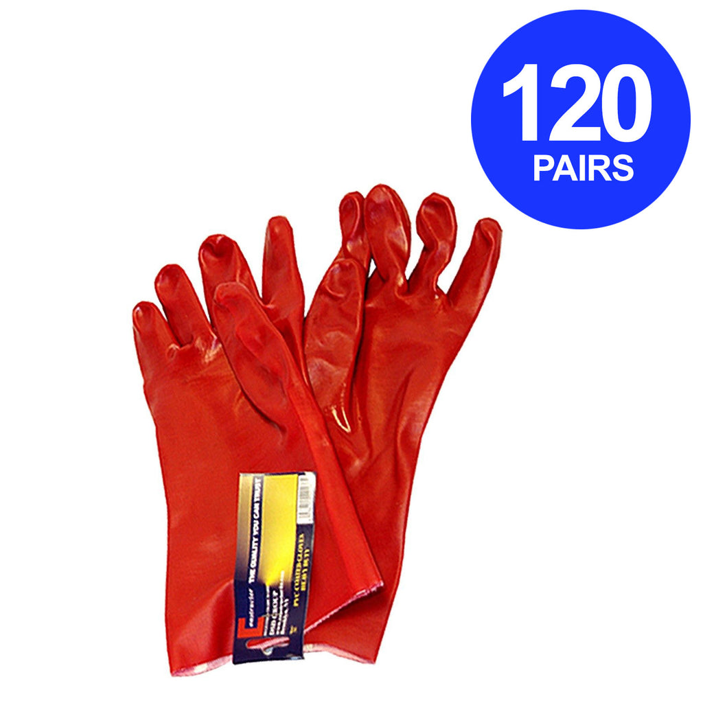 Constructor® PVC Heavy Duty Gloves Red. 120 Pairs. - DSD Brands