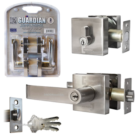"""Guardian"" Combo Lock Set Entry Lever & Single Cylinder Deadbolt SN - DSD Brands"