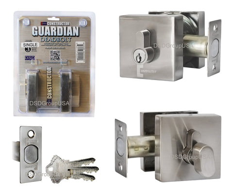 """Guardian"" Deadbolt Square Door Lock Set Single Cylinder - DSD Brands"