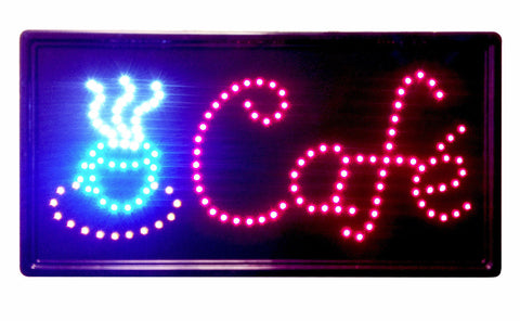 """Constructor""  Cafe 10x19 animated LED Neon Light Open Sign, 3 Way Animation Switch + Chain - DSD Brands"