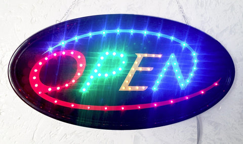 """Constructor"" Oval Open Sign 10""x19"" animated LED Neon Light , 2 On/Off Switches + Chain - DSD Brands"