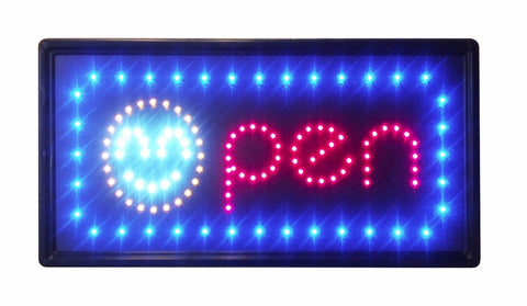 """Constructor"" Smiley Open Sign, 10""x19"" animated Motion LED Neon Light, On/Off and 2 Way Animation Switch + Chain - DSD Brands"