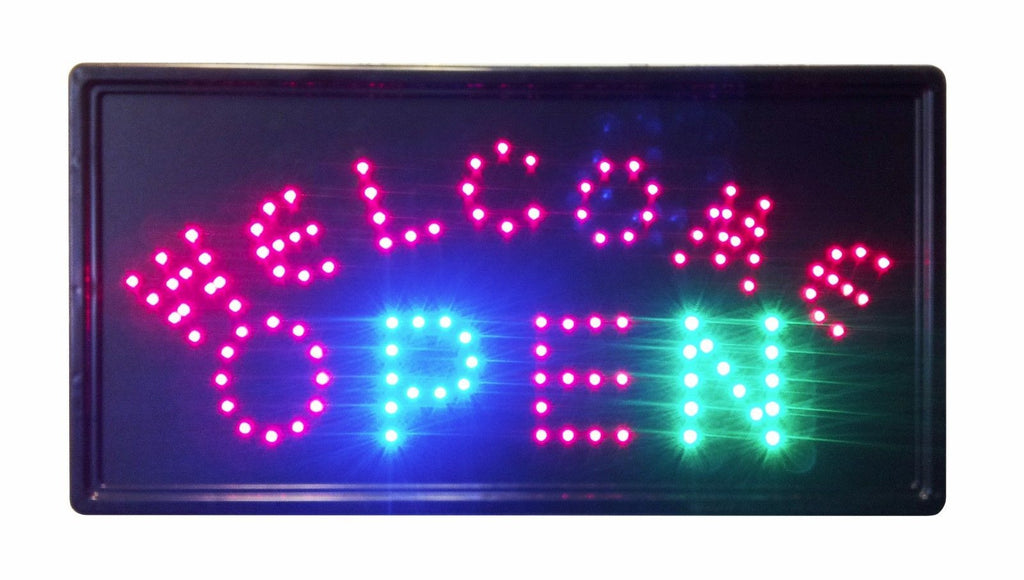 """Constructor"" Welcome Open Sign, 10""x19"" animated Motion LED Neon Light, On/Off and 2 Way Animation Switch + Chain - DSD Brands"