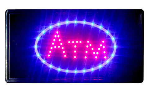 """Constructor"" 10""x19"" ATM Sign animated LED Neon Light , 2 On/Off Switches + Chain - DSD Brands"